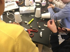 Students assembling their art bots